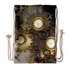 Steampunk, Golden Design With Clocks And Gears Drawstring Bag (Large)
