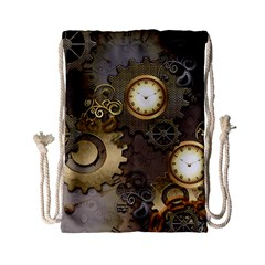Steampunk, Golden Design With Clocks And Gears Drawstring Bag (Small)
