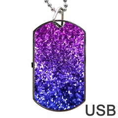 Midnight Glitter Dog Tag USB Flash (One Side)