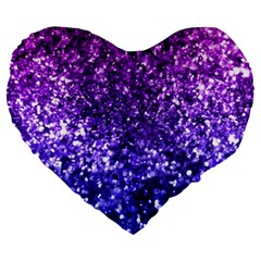 Midnight Glitter Large 19  Premium Flano Heart Shape Cushions