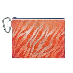 Florescent Orange Zebra Abstract  Canvas Cosmetic Bag (L)