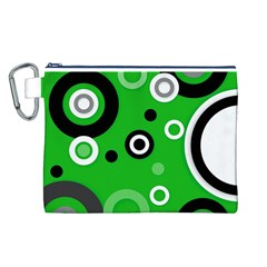 Green Abstract Pattern  Canvas Cosmetic Bag (l)