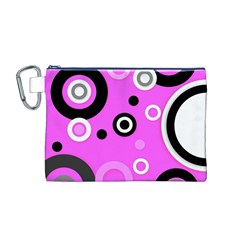 Florescent Pink Vector pattern  Canvas Cosmetic Bag (M)