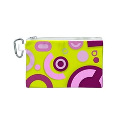 Florescent Yellow Pink Abstract  Canvas Cosmetic Bag (s)