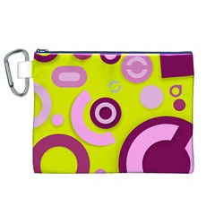 Florescent Yellow Pink Abstract  Canvas Cosmetic Bag (XL)