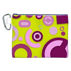 Florescent Yellow Pink Abstract  Canvas Cosmetic Bag (XXL)