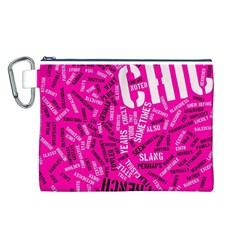 Hot Pink Chic Typography  Canvas Cosmetic Bag (L)