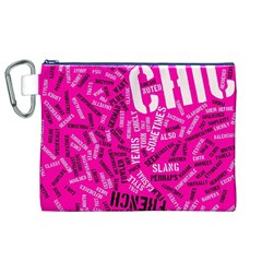Hot Pink Chic Typography  Canvas Cosmetic Bag (XL)
