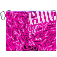 Hot Pink Chic Typography  Canvas Cosmetic Bag (XXXL)