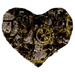 Metal Steampunk  Large 19  Premium Flano Heart Shape Cushions