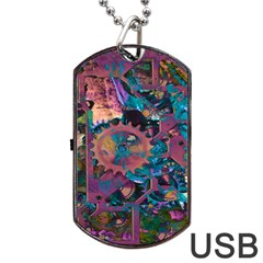 Steampunk Abstract Dog Tag USB Flash (One Side)