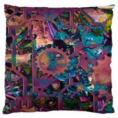 Steampunk Abstract Large Flano Cushion Cases (One Side)