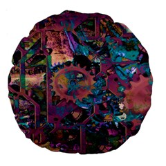 Steampunk Abstract Large 18  Premium Flano Round Cushions