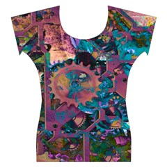 Steampunk Abstract Women s Cap Sleeve Top