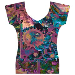 Steampunk Abstract Women s V-Neck Cap Sleeve Top