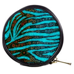 Turquoise Blue Zebra Abstract  Mini Makeup Bags