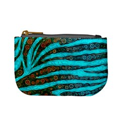 Turquoise Blue Zebra Abstract  Mini Coin Purses