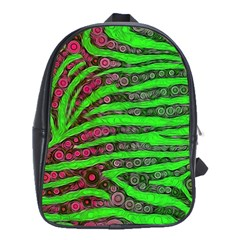 Florescent Green Zebra Print Abstract  School Bags(large)