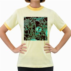Steampunk Gears Turquoise Women s Fitted Ringer T Shirts