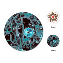 Steampunk Gears Turquoise Playing Cards (Round)