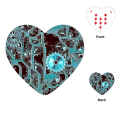 Steampunk Gears Turquoise Playing Cards (Heart)