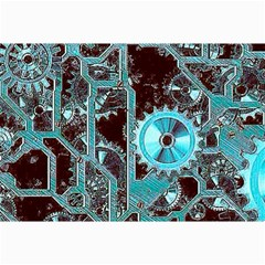 Steampunk Gears Turquoise Collage 12  X 18