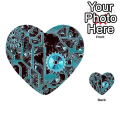 Steampunk Gears Turquoise Multi Purpose Cards (heart)