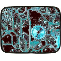Steampunk Gears Turquoise Fleece Blanket (Mini)