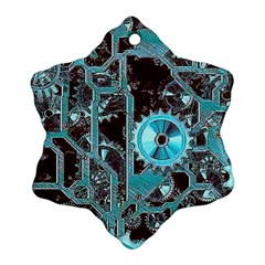 Steampunk Gears Turquoise Ornament (Snowflake)