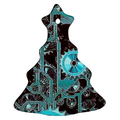 Steampunk Gears Turquoise Ornament (Christmas Tree)