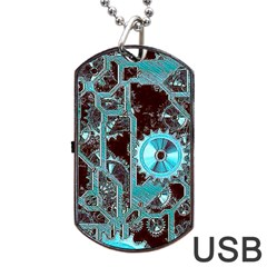 Steampunk Gears Turquoise Dog Tag USB Flash (One Side)