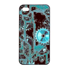 Steampunk Gears Turquoise Apple iPhone 4/4s Seamless Case (Black)
