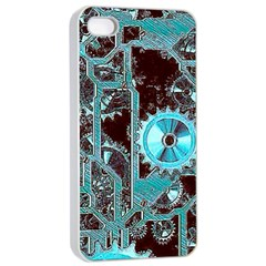 Steampunk Gears Turquoise Apple iPhone 4/4s Seamless Case (White)