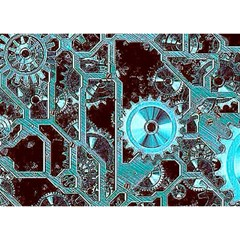 Steampunk Gears Turquoise Birthday Cake 3d Greeting Card (7x5)