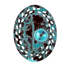 Steampunk Gears Turquoise Oval Filigree Ornament (2 Side)