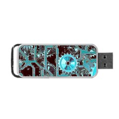 Steampunk Gears Turquoise Portable USB Flash (One Side)