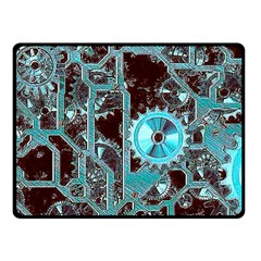 Steampunk Gears Turquoise Double Sided Fleece Blanket (Small)