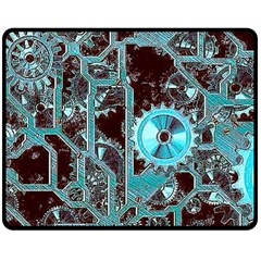 Steampunk Gears Turquoise Double Sided Fleece Blanket (medium)
