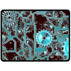 Steampunk Gears Turquoise Double Sided Fleece Blanket (Large)