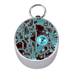 Steampunk Gears Turquoise Mini Silver Compasses