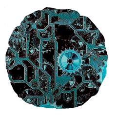 Steampunk Gears Turquoise Large 18  Premium Flano Round Cushions