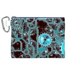 Steampunk Gears Turquoise Canvas Cosmetic Bag (XL)