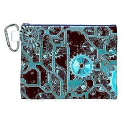 Steampunk Gears Turquoise Canvas Cosmetic Bag (XXL)