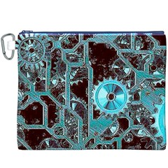 Steampunk Gears Turquoise Canvas Cosmetic Bag (xxxl)