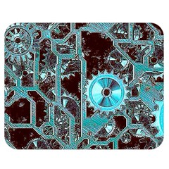 Steampunk Gears Turquoise Double Sided Flano Blanket (Medium)