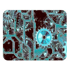 Steampunk Gears Turquoise Double Sided Flano Blanket (Large)
