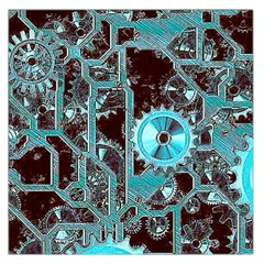 Steampunk Gears Turquoise Large Satin Scarf (Square)