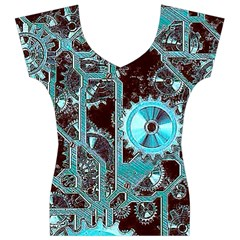 Steampunk Gears Turquoise Women s V-Neck Cap Sleeve Top