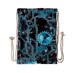 Steampunk Gears Turquoise Drawstring Bag (Small)