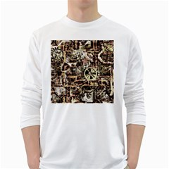 Steampunk 4 Soft White Long Sleeve T Shirts